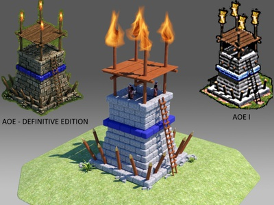 Sentry Tower in Age of Empires building isometric sketch simple design