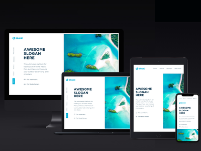 Responsive Layout rotated navigation hero landing vertical responsive