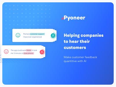 Pyoneer Customer Feedback Analytics analytics ai nlp logo rebranding integrations messages feedback