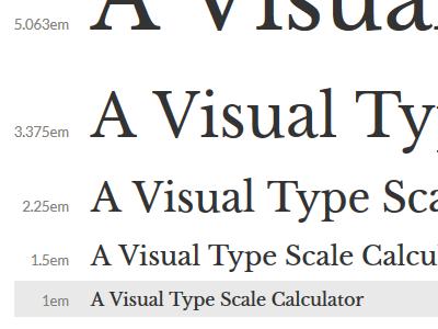 Visual Type Scale Calculator type scale webfont calculator