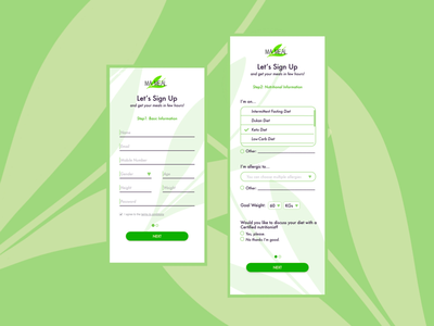 Sign Up - Get your meal food app health care health app ux digital ui design dailyui