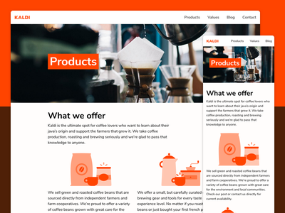 Kaldi products page white orange marketing products website tachyons bright coffee css html web