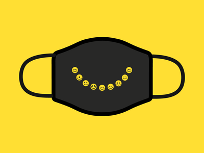 Smile mask icons health pandemic covid-19 mask yellow happy emoticon emoji smile smiley