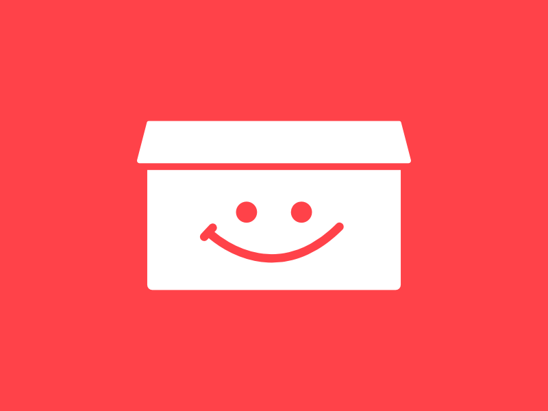 Happy box logo face happy smile box branding logo