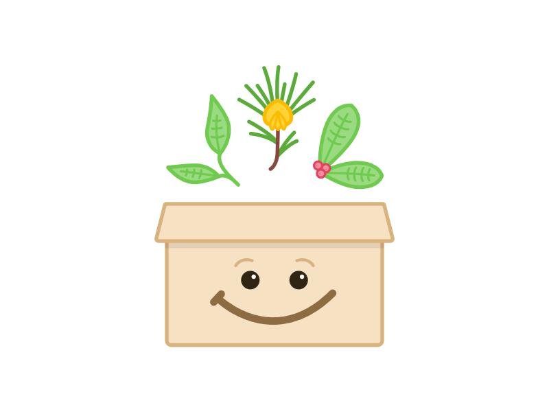 Tea Box face smile illustration tea leaves leaves subscription box box tea