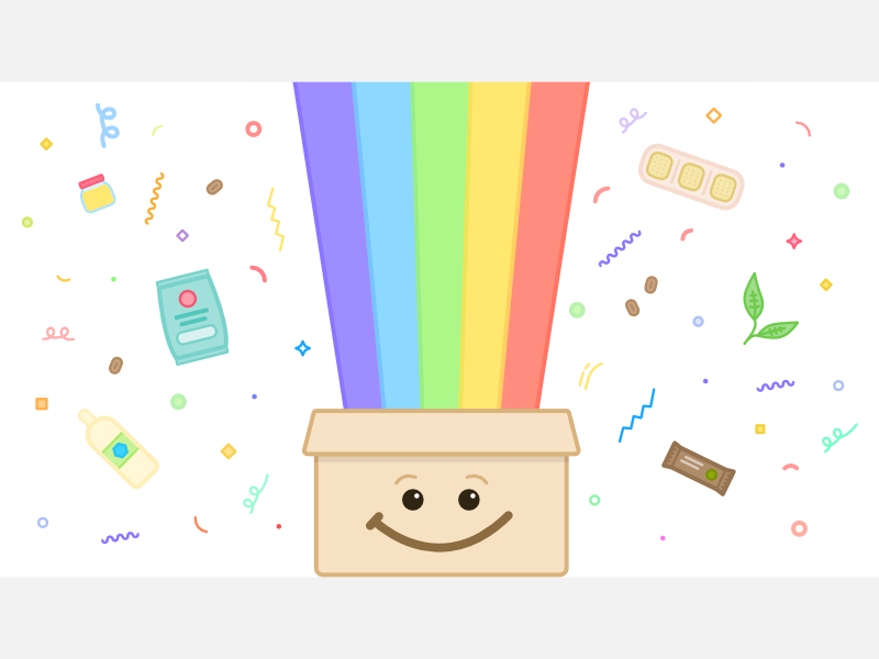 Surprise box rainbow happy smile surprise celebration confetti leaves food healthy snacks subscription box box