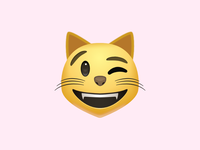 Smiling cat face with winking eye
