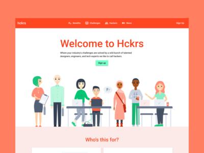 Hckrs homepage hero tech people illustration marketing website site website hero home homepage