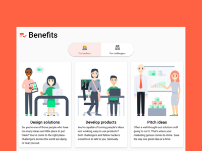 User benefits designers developers tech marketing website illustration benefits features user benefits user