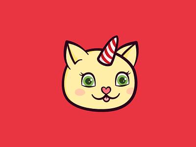 Xmas Kittycorn illustration character avatar cute kitty unicorn cat unicorn cat candy cane festive holiday christmas