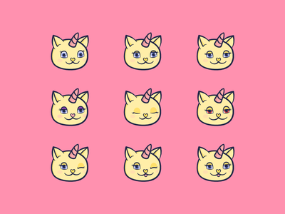 Unicats baker-miller pink red eyes wink happy excited expressions cute character illustration unicorn cat unicorn cat
