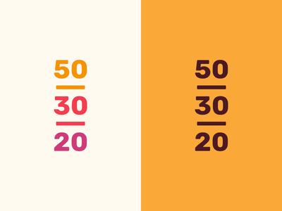 50/30/20 numbers warm colors brown orange macronutrients nutrition logo branding brand