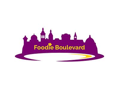 Foodie Boulevard Logo plate dish buildings urban city silhouette food foodie boulevard brand logo