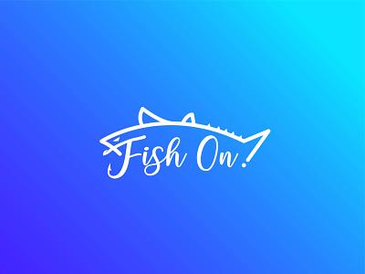 Fish On! logo design lettertype typography hunting unique minimalist website business minimal modern hook fishing fish ui logo design logo graphic design flat design creative branding