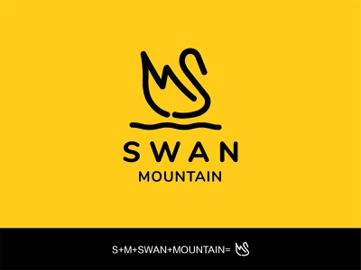 Swan Mountain logo design hunting pet professional app website simple minimalist business logo swan mountain animal minimal modern logo design logo graphic design flat design creative branding
