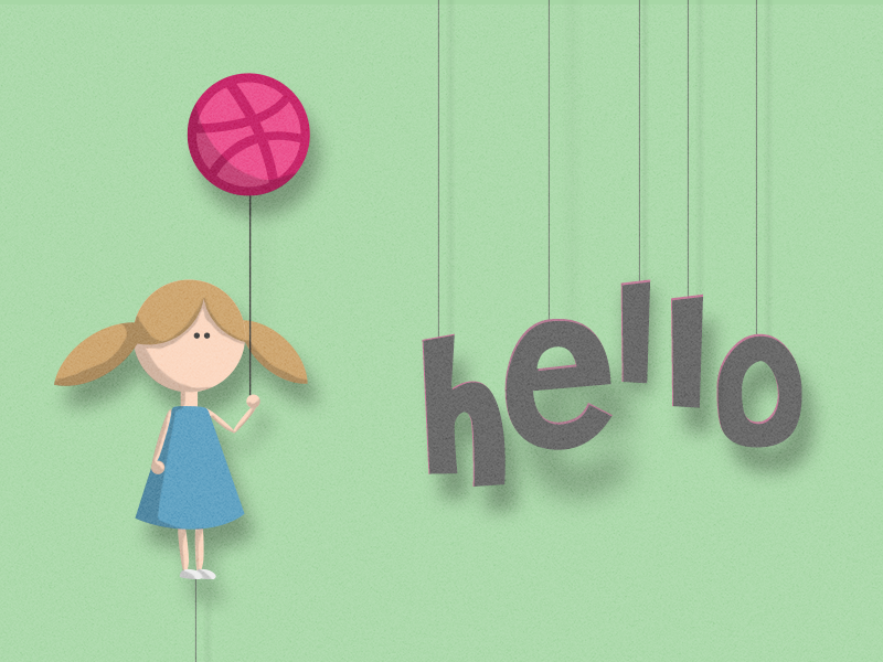 Hellodribbble girl baloon dribbble hello paper string