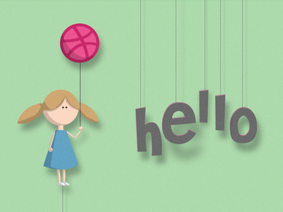 Hellodribbble girl baloon dribbble hello paper string