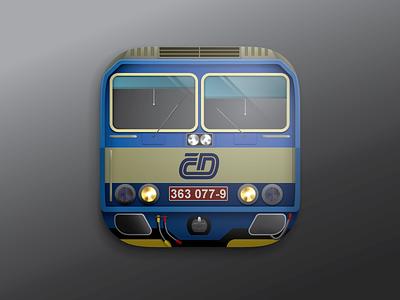 Locomotive class ES 363 czech locomotive vector ios icon train es363