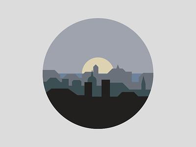 Sunrise cityscape city icon sunrise