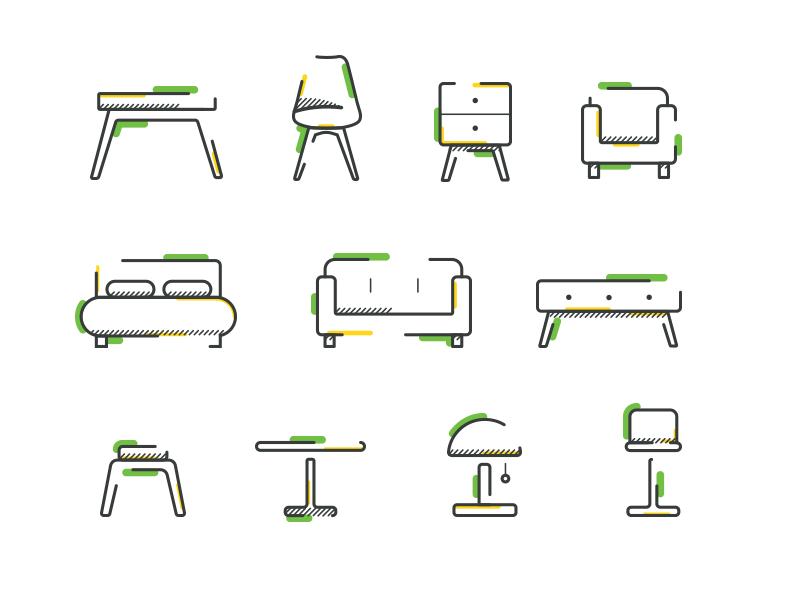 icon set line furniture icon
