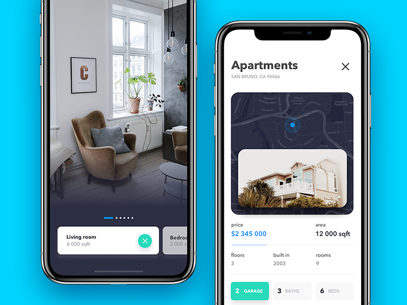 Houses browser e-commerce browser real home mobile app rent real estate 7ninjas