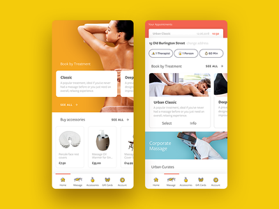 Massage App product design booking shop store ui massage 7ninjas mobile app e-commerce