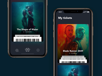 Ticket App product design scroll sending card movie ticket cinema interface mobile animation ui