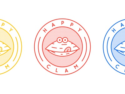 Happy Clam logo branding identity illustration seafood clam happy badge