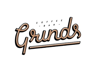 Grinds Coffee Bar bar coffee grinds black brown logos logo branding letters typography type lettering