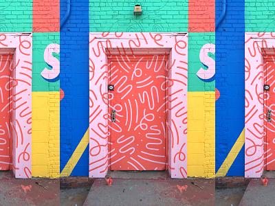 Doodle Door mural installation pattern bright neon illustration squiggles doodles