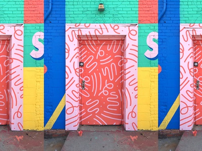 Doodle Door mural installation pattern bright neon illustration squiggles doodles