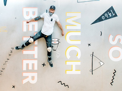 New Portfolio/Shop skateboard bright pma installation illustration squiggle doodle type lettering signpainting floor mural