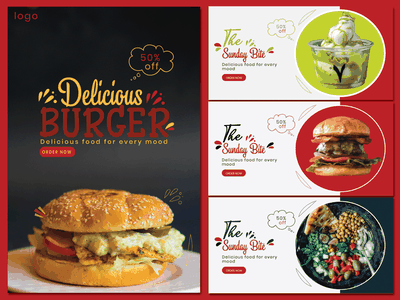 Modern food Poster and banners with latest Typography trends typography designer idenity logoinspiration designinspiration illustration graphic design design branding art