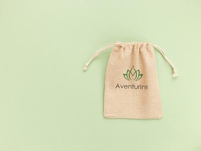 Aventurine poche en lin branding design logotype logodesign lotus flower lotus logo lotus logo design logo