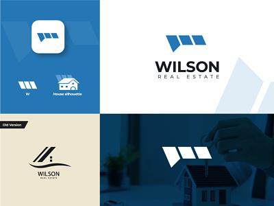Wilson real estate logo real estate agent logo design mls logo w lettre w wilson roofhouse roof real estate logo apartment property realtor home house housing real estate