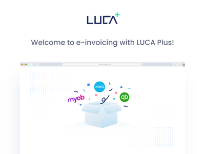 Welcome Email banner for new LUCA Plus users fintech icon illustraion melbourne quickbooks myob xero accounting e-invoice edm email banner