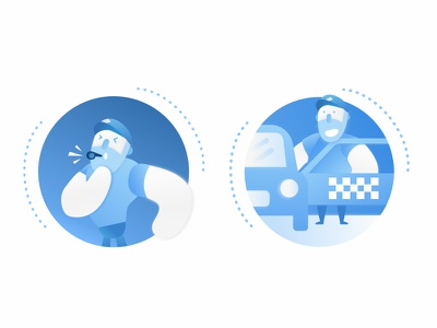 Police illustration cop cartoon blue icon illustration police