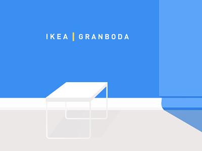 IKEA-GRANBODA simple sweden blue minimalism furnitures table ikea illustration