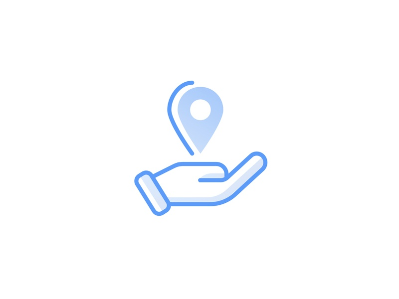 Location Checkin Icon line icons location hand vector blue icon illustration