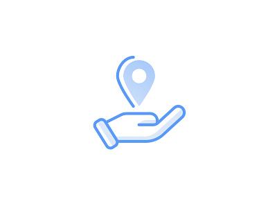 Location Checkin Icon line icons location hand vector blue icon illustration