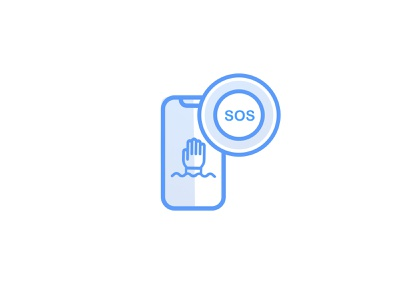 SOS Message Icon iphonex lineicons vector blue illustration