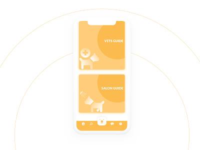 Doggy Hub App-Card UI Design card ui cards yellow dog ui vector icon illustration