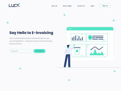 Luca+ landing page design melbourne accounting mint green mint branding webdesign landingpage e-invoicing illustration