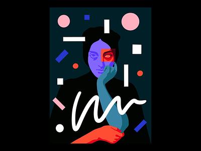 Portrait of Clémentine Karr shapes geometric illustrated portrait portrait art portrait illustration