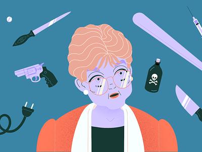 Jessica Fletcher 80s character illustration portrait angela lansbury murder she wrote jessica fletcher