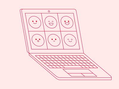 Remote Work minimal line illustration laptop mockup smiley face skype zoom remote work video call computer remote