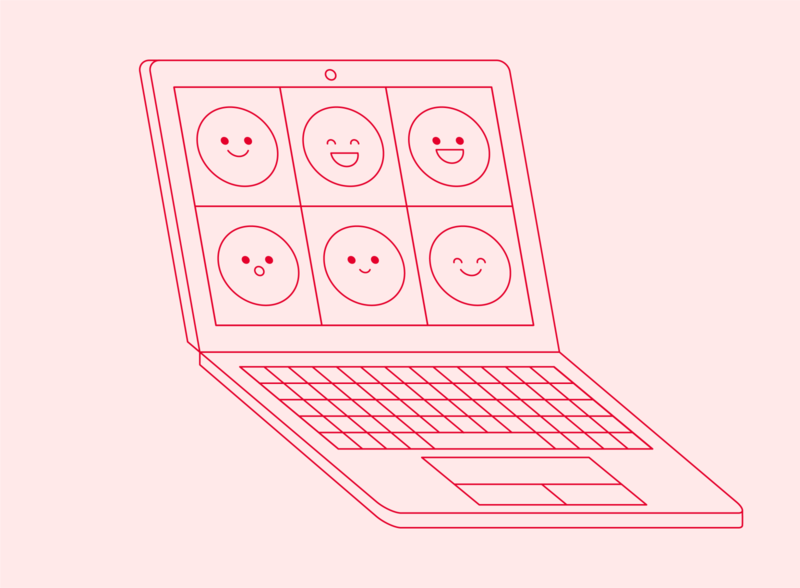Remote Work minimal line illustration laptop mockup smiley face skype zoom remote work video call computer remote