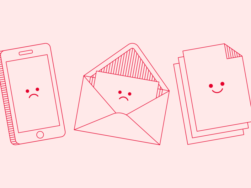 Phone calls, e-mails and paper work sad happy minimal illustration line character smiley face documents email iphone phone