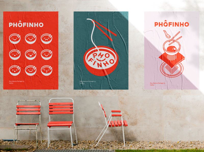 Phôfinho Posters minimal character line illustration advertising branding restaurant noodles asian food pho wheatpaste poster a day poster design poster art poster
