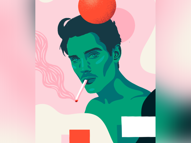 Diego Barrueco shapes cigarette pastel colorful portrait illustration